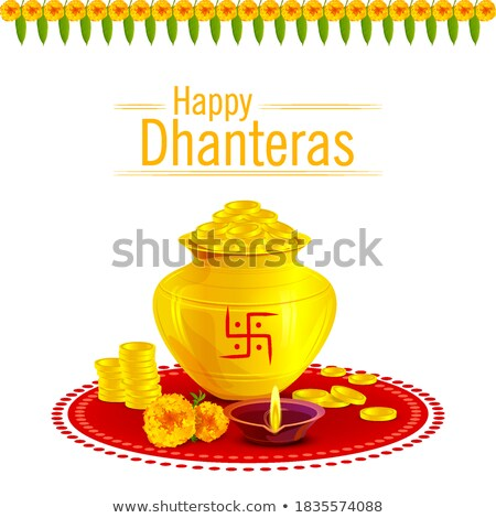 Stock photo: Gold Coins Pot With Marigold Flower For Dhanteras
