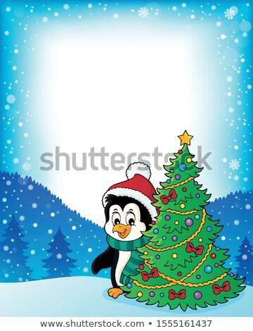Pingvin karácsonyfa keret boldog művészet madár Stock fotó © clairev