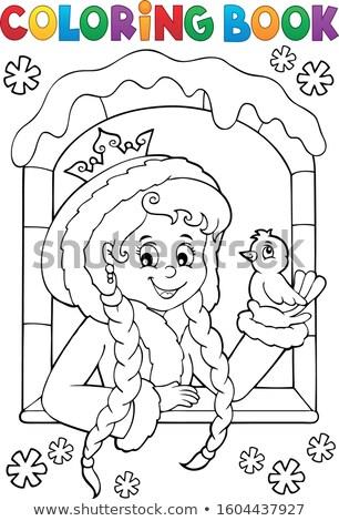 Libro da colorare principessa inverno finestra ragazza libro Foto d'archivio © clairev
