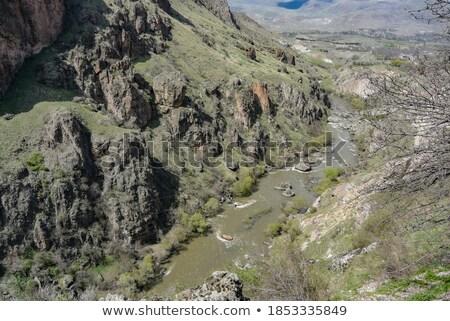 Río valle Georgia cueva monasterio cielo Foto stock © borisb17