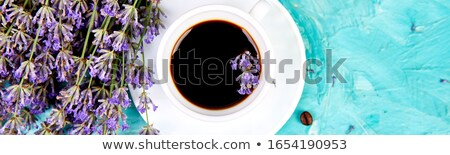 Banner of Coffee and lavender flower on blue background from above. Stock photo © Illia