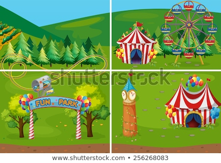 Circus scene with many rides in the field Stock photo © bluering