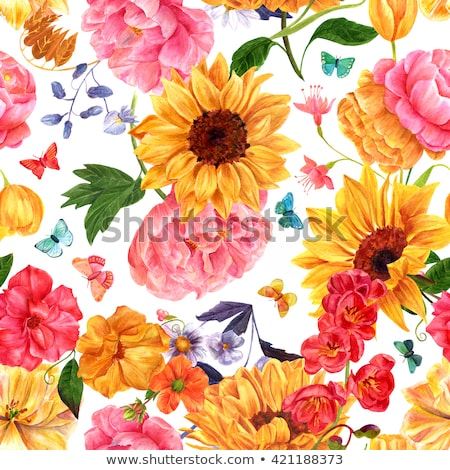 Sunflowers, roses and other flowers watercolor painting Stock photo © shawlinmohd