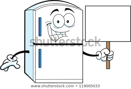 Cartoon refrigerator holding a sign Stock photo © bennerdesign
