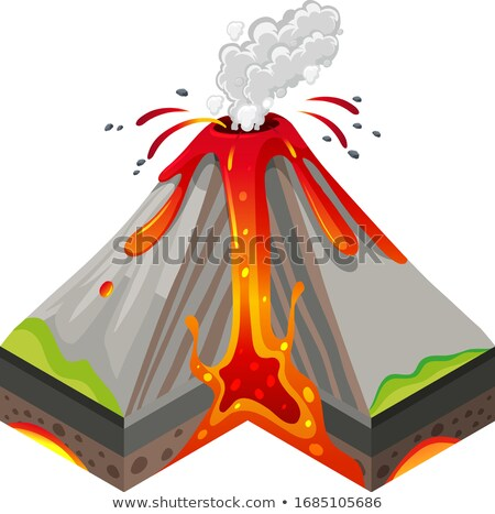 Volcano eruptions and inside layers on white background Stock photo © bluering