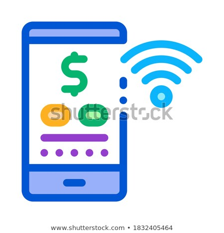 money management through wi-fi distribution icon vector outline illustration Stock photo © pikepicture