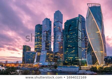 Moskou skyline grijs blauwe hemel auto landschap Stockfoto © ShustrikS