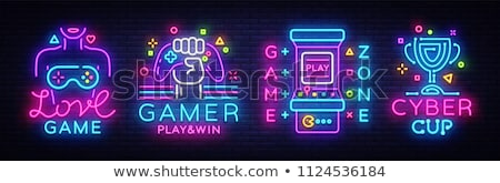 Cyber Game Neon Banner Design Stock photo © Anna_leni