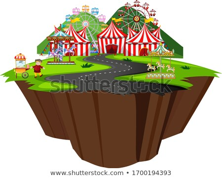 Scene with circus tent and many rides along the road Stock photo © bluering