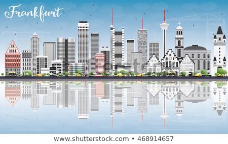 Frankfurt skyline grijs gebouwen blauwe hemel Stockfoto © ShustrikS