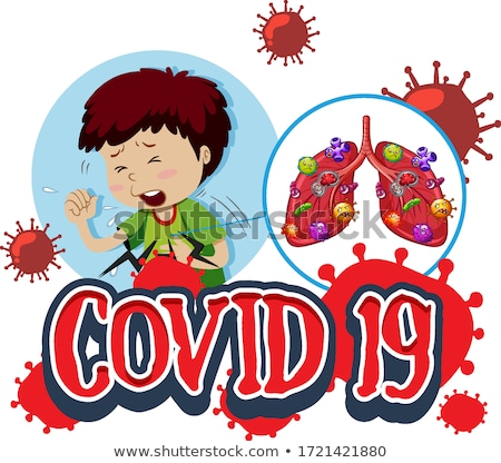 Font design for word covid 19 with sick boy and bad lungs Stock photo © bluering