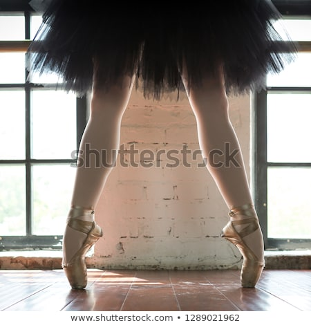 Ballerina legs in light classic pointe shoes Stock photo © boggy