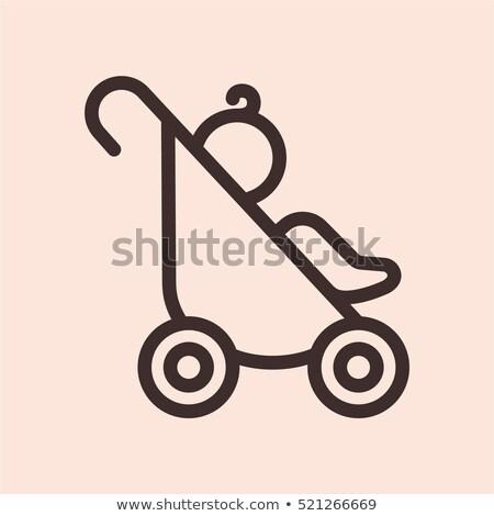 Kinderwagen icon vector schets illustratie teken Stockfoto © pikepicture