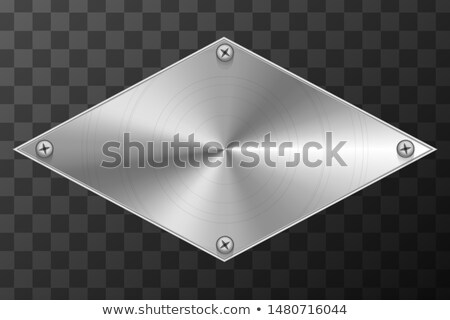 Glossy metal industrial plate in rhombus shape on transparent Stock photo © evgeny89