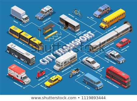Transport publiczny wektora izometryczny zestaw line Zdjęcia stock © pikepicture