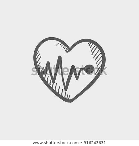 Szívverés ikon vektor skicc illusztráció felirat Stock fotó © pikepicture