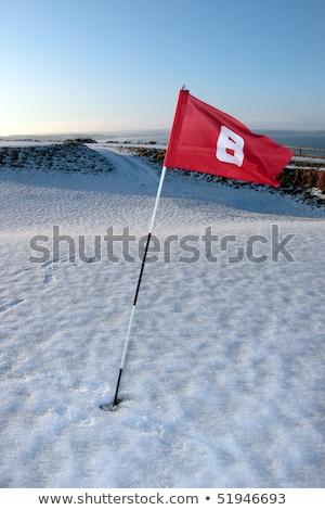 Stock fotó: Hó · fedett · linkek · golfpálya · piros · zászló