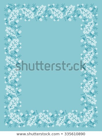 vector folk Rectangular Frame Cross-stitch blue stock photo © tottoro