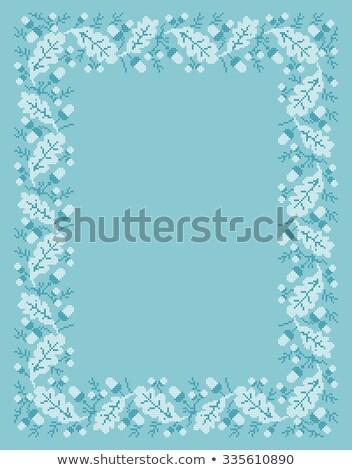vector folk Rectangular Frame Cross-stitch blue Stock photo © tottoro