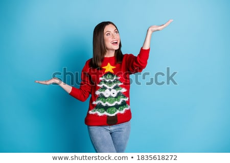 nő · tart · karácsony · dísz · gyönyörű · nő · ajándék - stock fotó © piedmontphoto