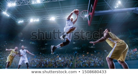 баскетбол молодым человеком портрет мяча спорт оранжевый Сток-фото © Bananna