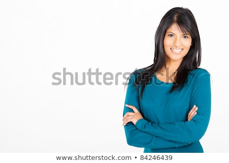 portrait of gorgeous relaxed young lady with beautiful blue eyes stock photo © hasloo