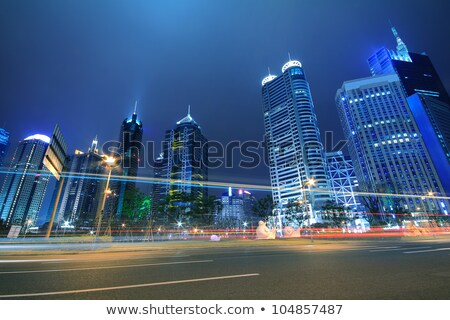 Stedelijke landschap ver Sjanghai schemering blauwe hemel Stockfoto © Artphoto