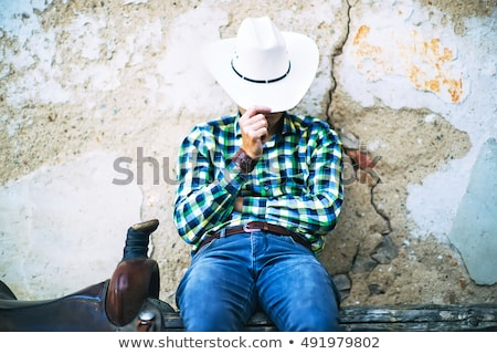 Cowboy · attitude · noir · portrait · colère · ouest - photo stock © ralanscott
