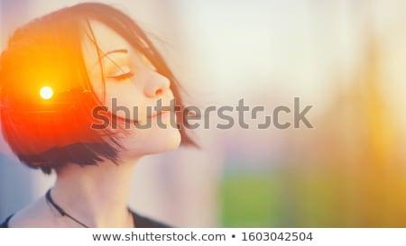 Portré álomszerű nő portré nő számítógép mosoly Stock fotó © photography33