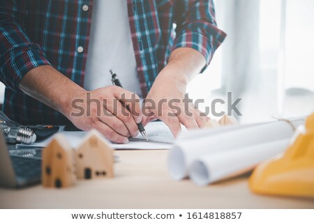 Menschen beobachten Architekt Modell Frau Bau Stock foto © photography33