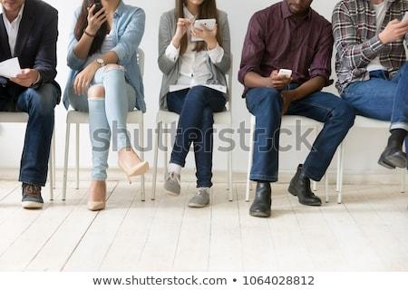 mujer · sesión · espera · oficina · tecnología · diversión - foto stock © photography33