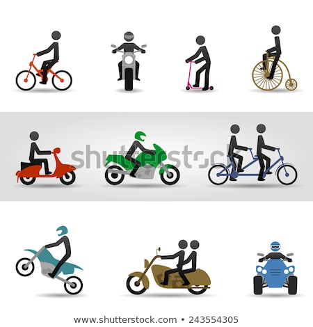 Motorcyclist on a push bike Stock photo © photography33