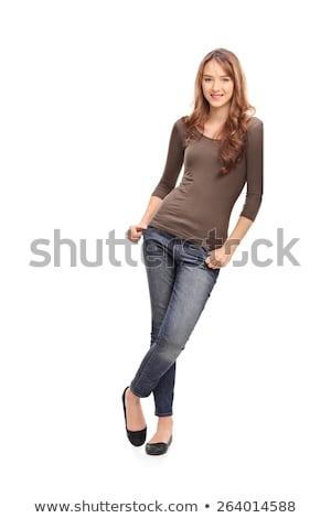 Genç kadın beyaz duvar ev iç çamaşırı Stok fotoğraf © studiofi