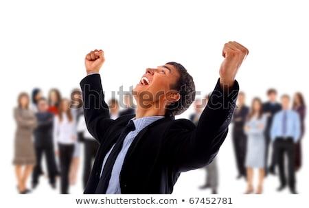 very happy energetic businessman with his arms raised Stock photo © ra2studio