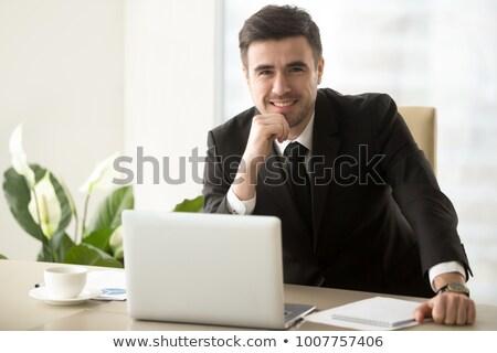 Satisfecho empresario ordenador portátil ordenador sonrisa feliz Foto stock © photography33