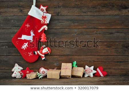 Navidad · calcetín · corona · madera · color · blanco - foto stock © inxti