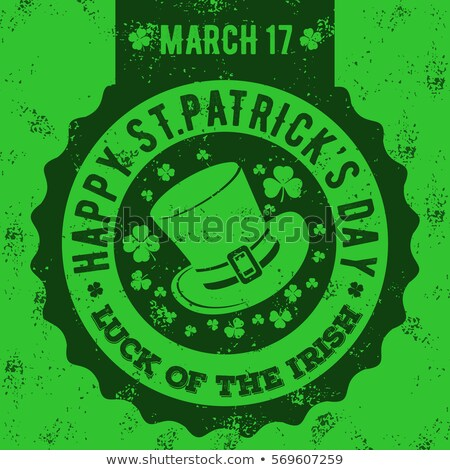 st patricks day in circle label with shamrocks stock photo © marinini