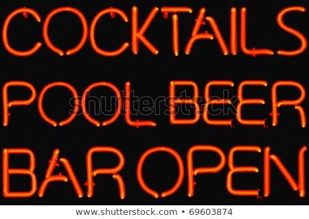 Piros medence neonreklám éjszaka kívül snooker Stock fotó © Snapshot