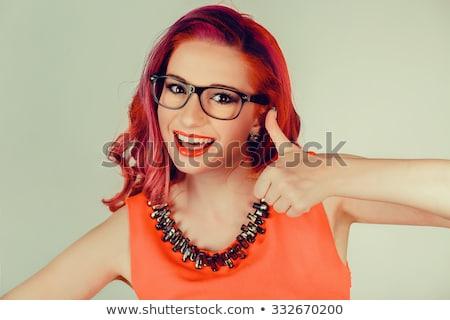 Giovani femminile vincente atteggiamento guardando blu Foto d'archivio © pablocalvog