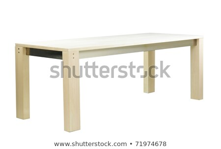 Beautiful dinning furniture table in ivory color isolated on whi Stock photo © JohnKasawa