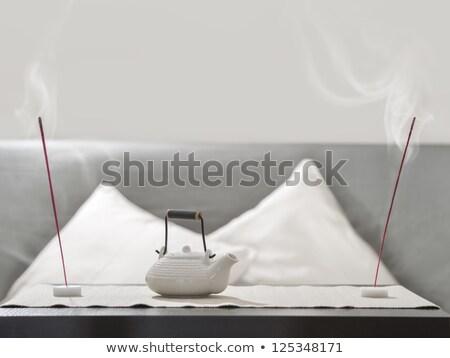 Tetera incienso palo mesa cómodo relajación Foto stock © HASLOO