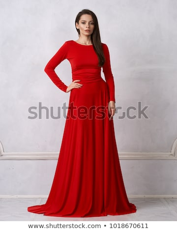 美しい · 小さな · 女性 · 着用 · 赤いバラ · ドレス - ストックフォト © victoria_andreas