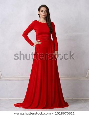 Belo morena mulher magnífico vestido vermelho Foto stock © Victoria_Andreas