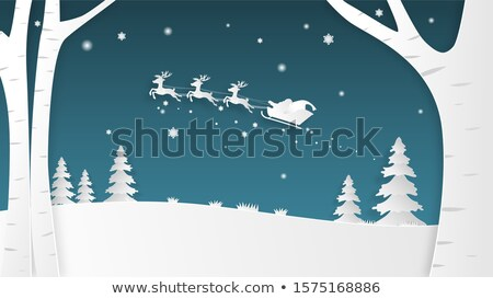 Snow landscape with trees and a house Stock photo © zzve
