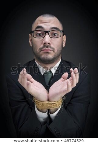 człowiek · ręce · liny · za · bary · strony - zdjęcia stock © nito