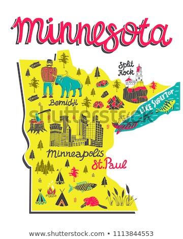 地図 · ミネソタ州 · 背景 · 旅行 · シルエット · 白 - ストックフォト © michaklootwijk