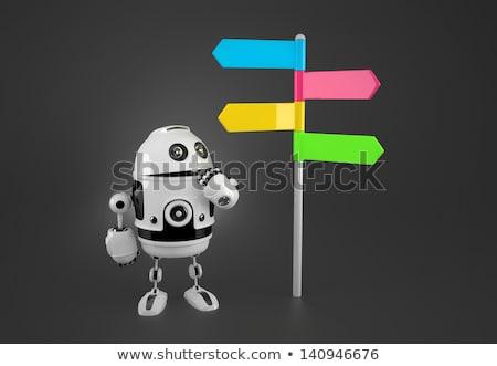 robot looking at colorful way sign stock photo © kirill_m