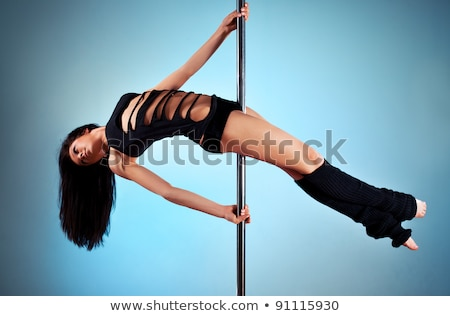 jovem · mulher · sexy · exercer · pole · dance · cinza · mulher - foto stock © aikon
