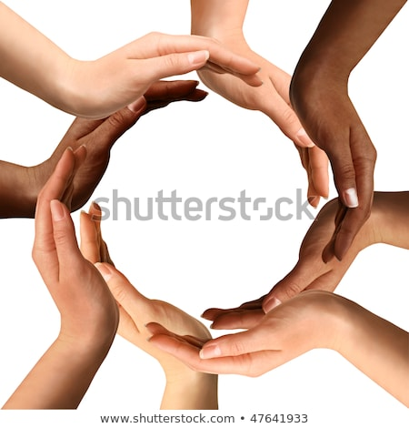 Conceptual symbol of multiracial human hands making a circle Stock photo © oly5