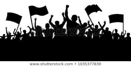 Revolutie mensen silhouetten Oekraïne brand menigte Stockfoto © leedsn